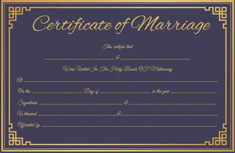 royal blue marriage certificate template