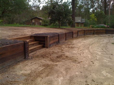 timber retaining walls 800 mm acq hardwood timber retaining wall with m10 cup bolts