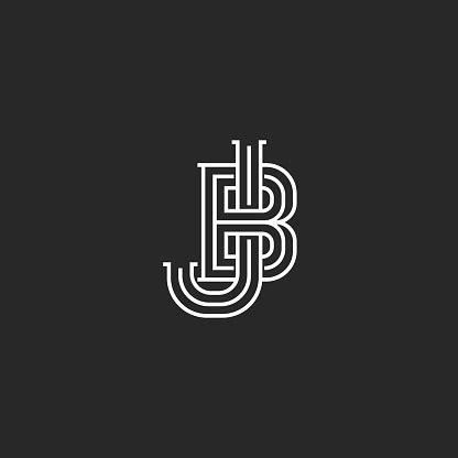 creative logo jb  bj initials logo monogram thin lines  letters