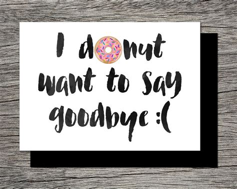 printable farewell card printable goodbye card  donut