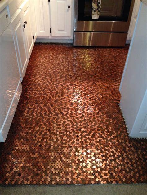 kitchen floor made of pennies diy copper floor 8070