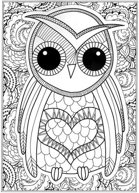 coloring pages for adults to print owl coloring pages for adults free detailed owl coloring