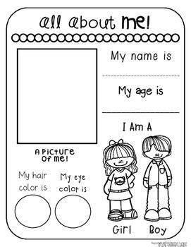 all about me worksheet kindergarten worksheets for all