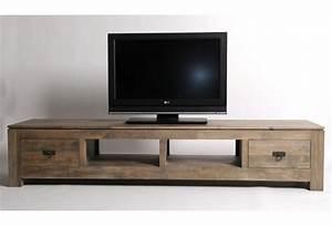 meuble tv hifi hevea massif grise 2 tiroirs 2 niches With wonderful meuble en manguier massif 5 meuble tv en bois exotique gris