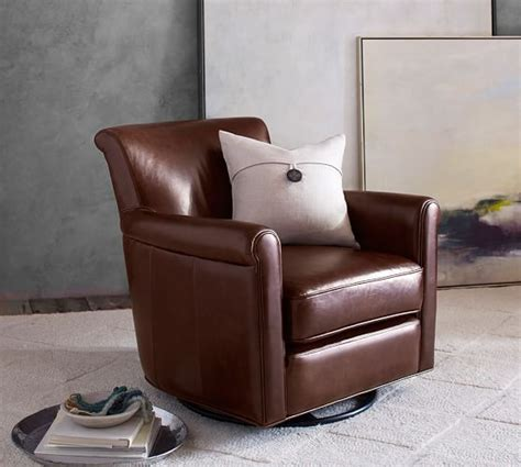 irving roll arm leather swivel glider pottery barn