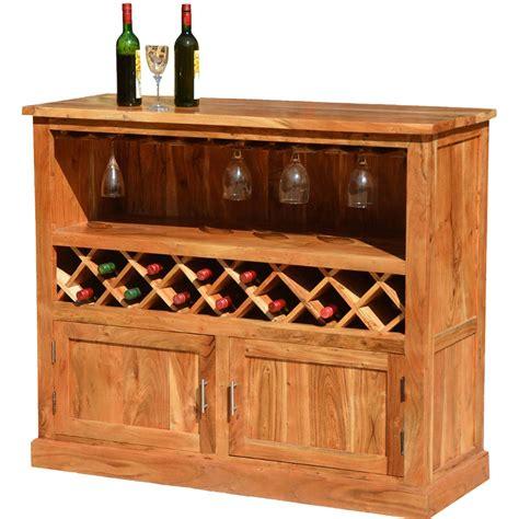 Modern Rustic Acacia Wood 13 Bottle Wine Bar Cabinet W