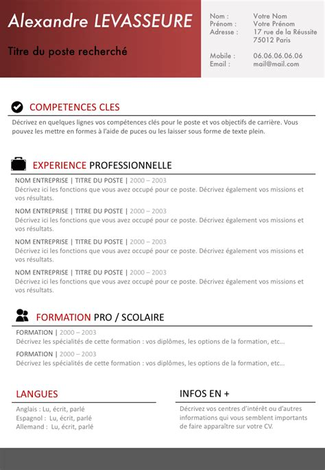Model De Cv Simple by Exemple De Cv Simple Et Efficace Gratuit 224 T 233 L 233 Charger