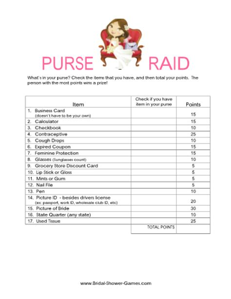printable whats   purse game classic atbridal