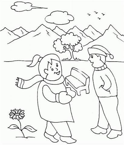 Coloring Winter Preschool Kindergarten Printable Season Age