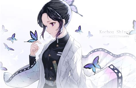 black hair butterfly japanese clothes katana kimetsu