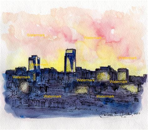 Painting of Downtown Omaha Skyline