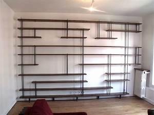 Bibliothèque Murale Bois : biblioth que sur mesure bois m tal micheli design ~ Premium-room.com Idées de Décoration