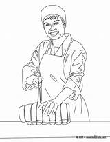 Coloring Butcher Colorear Coloriage Carnicero Imprimer Job Dibujo Dibujos Hellokids Carne Boucher Atando Bouche Roast Police Colouring Cortando Printable Imprimir sketch template