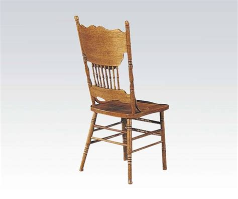 acme furniture nostalgia casual pedestal nostalgia casual oak wood press back side chair