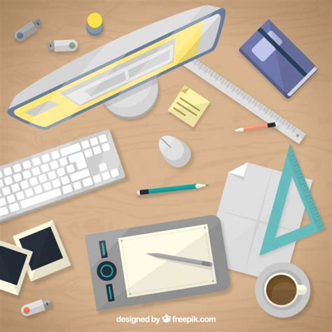 design a desk online graphic designer desk in top view vector premium download