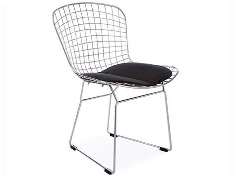 bertoia wire side chair black
