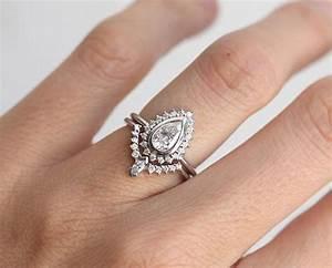 Pear diamond ring set art deco diamond ring set diamond for Where to sell old wedding ring