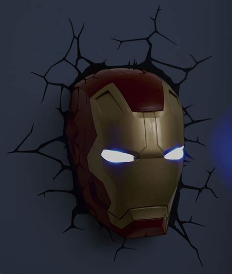 avengers 3d fx deco led light ironman mask wall decoration