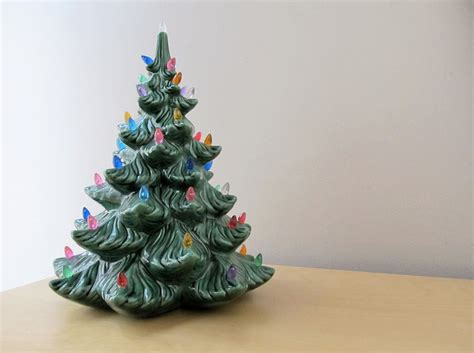 vintage ceramic tree with lights blue by ionesattic