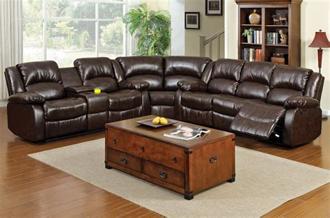 brown leather sectional cormac brown leather recliner sectional