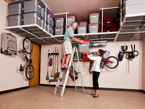 overhead garage storage ceiling mounted racks