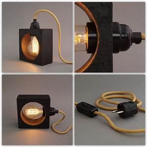 Nachttischlampe Selber Bauen : lichtgestalten betonlampe nomad nero ~ Markanthonyermac.com Haus und Dekorationen
