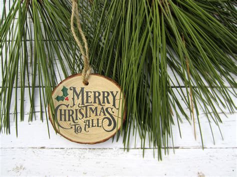 merry christmas   wood slice ornament  silhouette