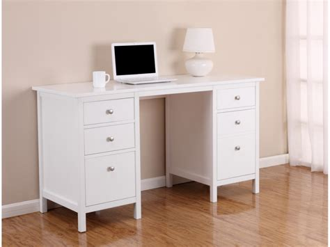 bureau a bureau albane 4 tiroirs 1 porte pin massif blanc