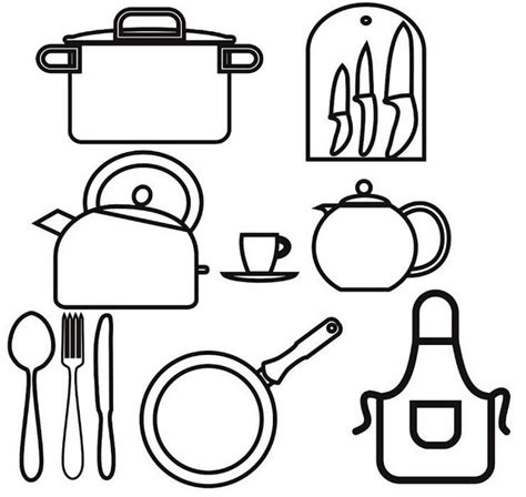 kitchen utensils coloring page  girls