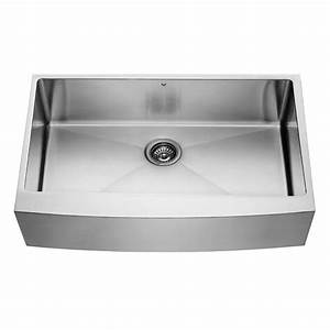 shop vigo 360 in x 2225 in premium satin single basin With 25 inch farmhouse kitchen sink