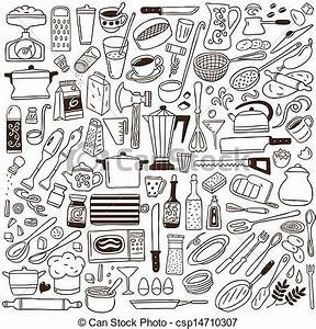 Vector Clipart of kitchen tools - doodles collection
