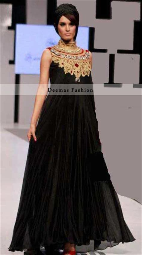 latest designer collection black party wear dress