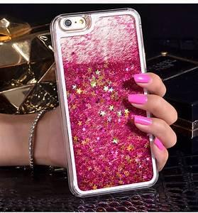 For iPhone 7 Case Cute 3D Liquid Quicksand Glitter Love ...