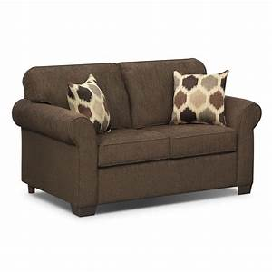 Downey chocolate twin innerspring sleeper sofa furniturecom for Twin sofa sleeper