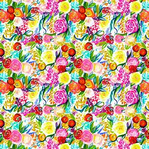 Neon Summer Floral Print SMALL SCALE PRINT fabric