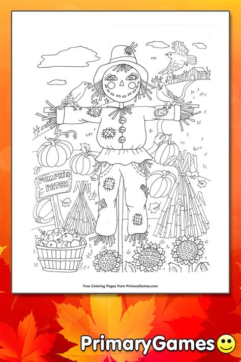 pumpkin patch scarecrow coloring page printable fall coloring  primarygames