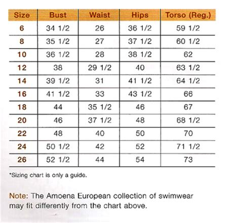 amoena breast forms size chart amoena swimsuit chart