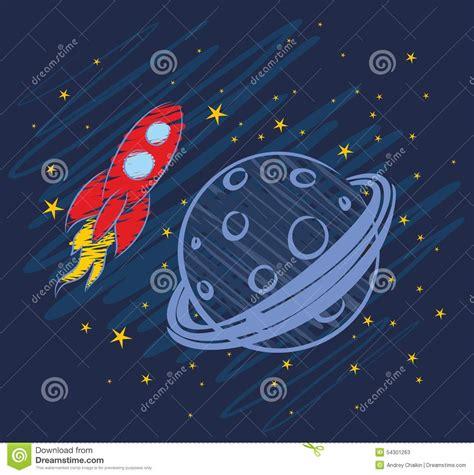 rocket drawing  space stock vector image