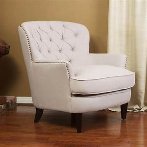 Watson natural linen upholstered club chair modern for Living room club chairs