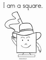 Square Coloring Shape Preschool Shapes Worksheets Hat Twistynoodle Activities Toddler sketch template