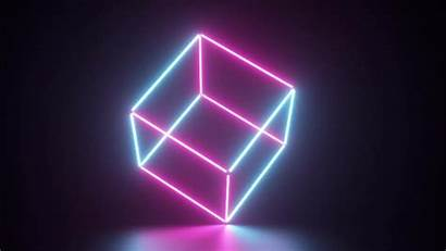 Outline Cube Neon Background Motion Graphics Purple
