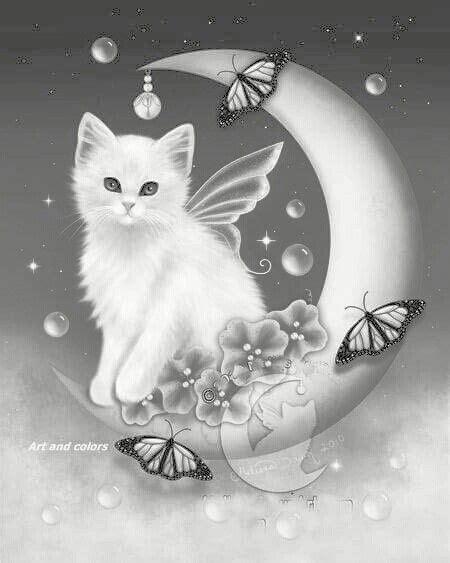 butterfly cat kitten fairy butterfly crescent moon coloring pages colouring adult detailed