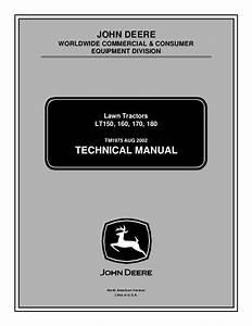 John Deere Lt170 Lawn Garden Tractor Service Repair Manual