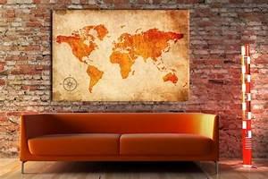 Carte Du Monde Deco : toile photo carte du monde deco pinterest toile photos et orange ~ Teatrodelosmanantiales.com Idées de Décoration