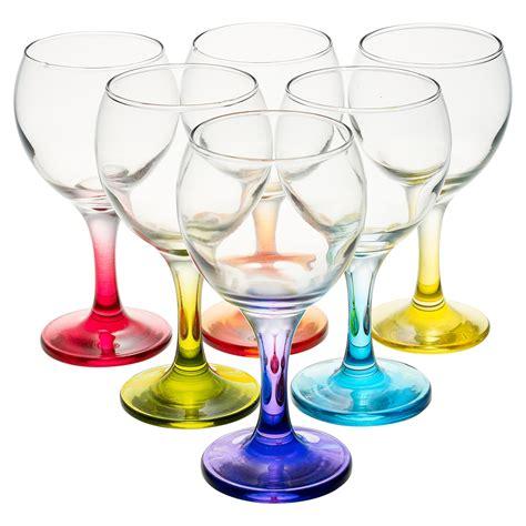 colored wine glasses 6pc set 210ml cocktail coloured stem wine glasses
