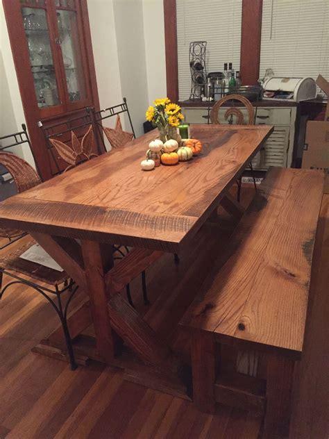 Handmade Reclaimed Oak Farm Table With X Base by Virginia