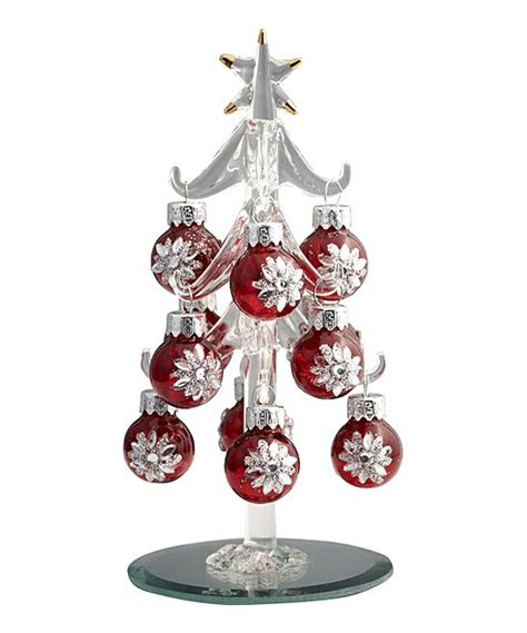 ls arts red crystal ornament miniature glass tree set
