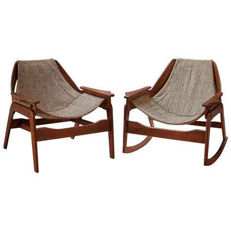 mid century vintage jerry johnson sling rocker and chair