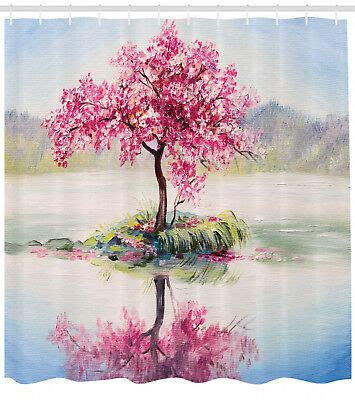 sakura shower curtain japanese cherry tree print