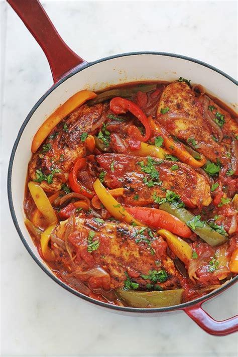 poulet aux poivrons oignons  tomates cuisine culinaire